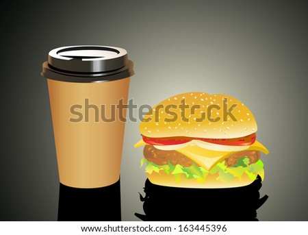 Big and tasty hamburger and with cola