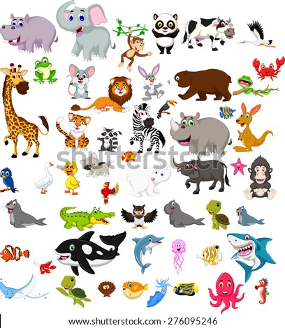 big animal cartoon set - stock vector