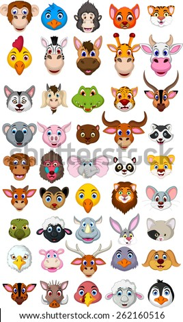 big animal head cartoon collection  - stock vector