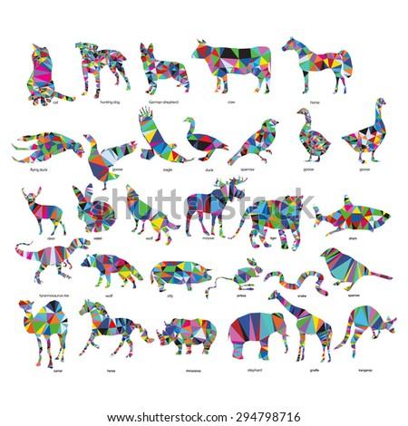 Big animal set: jerboa, giraffe, snake, horse, goose, rhino, camel, kangaroo, tiger, rabbit, dog, cat, goose, cow, pig, moose, deer, snake,  - stock vector