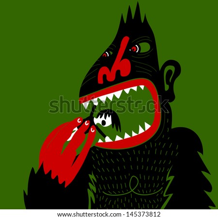 Big ape eating screaming woman - stock vector