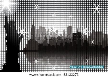 Big Apple on Big Led Screen - stock vector