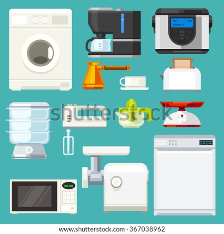 Big  appliance set! Isolated objects: washing machine, coffee machine with mug, juicer, mixer, microwave oven, mincer, toaster, scales. Flat vector illustration set. - stock vector