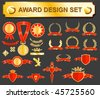 big award design set - medals, badges and laurels - stock vector