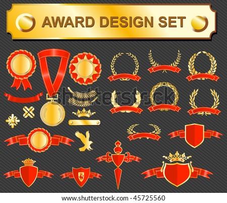 big award design set - medals, badges and laurels - stock vector