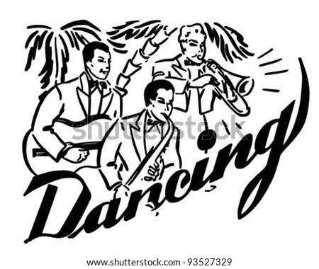 Big Band Dancing - Retro Clipart Illustration - stock vector