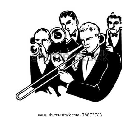 Big Band Horn Section - Retro Clipart Illustration - stock vector