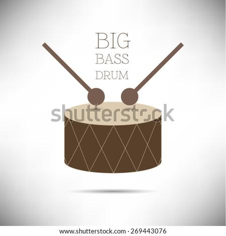 Big Bass Drum flat design vector illustration on white background - stock vector