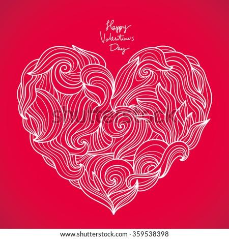 Big Beautiful Heart Vector Illustration Valentines Stock Vector ...