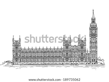 Big Ben and Houses of Parliament, London UK. Sketch collection - stock vector