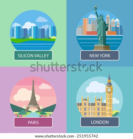 Big Ben and Westminster Bridge, London, UK. Office building in Silicon Valley. Statue of Liberty, New York City. Eiffel tower, Paris. France. Posters concept in cartoon style with text - stock vector