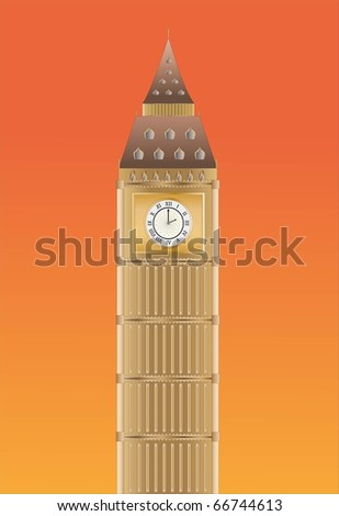 Big Ben at sundown ( Background on separate layer ) - stock vector