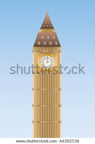 Big Ben ( background on separate layer ) - stock vector