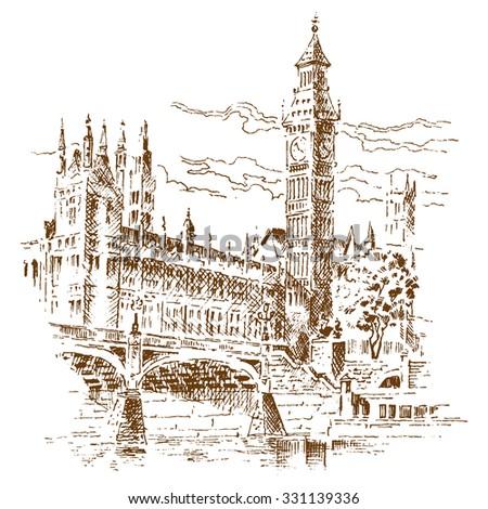 Big Ben - engraving - stock vector