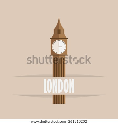 Big Ben flat icon with shadow  - stock vector