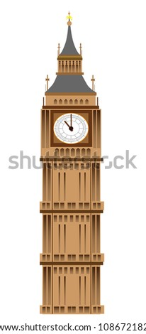 Big Ben tower illustration, isolated on white background, vector - stock vector