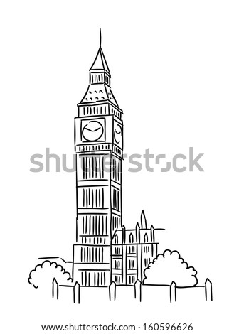 Big Ben tower in London for travel industry design. Jpeg version also available in gallery - stock vector