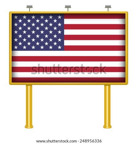 Big Billboard American Flag USA - stock vector
