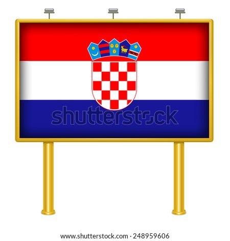 Big billboard Croatia flag - stock vector