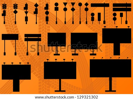 Big billboard, road sign and traffic lights detailed illustration collection background vector - stock vector