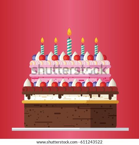 Big Birthday Cake Candles Flat Icon Stock Vector 611243522
