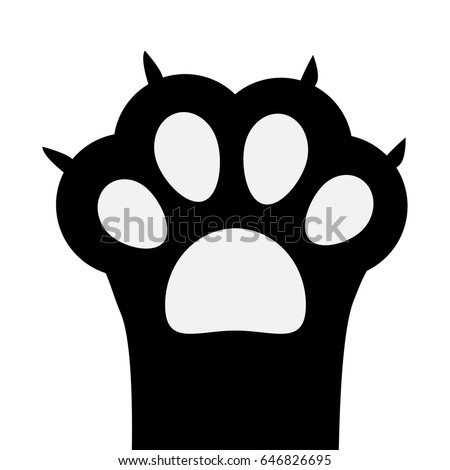 big black cat paw print leg stock vector 646826695 - shutterstock