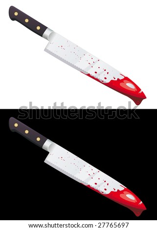 Big bloody knife isolated on white and black background - stock vector
