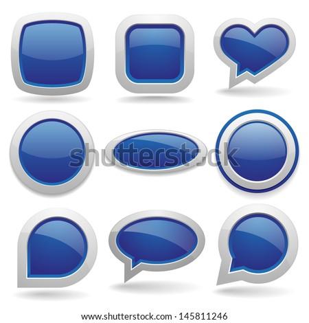 Big blue button collection - stock vector