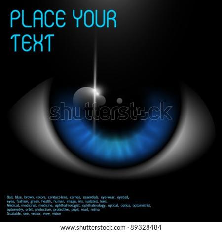 Big blue eye with shine - stock vector