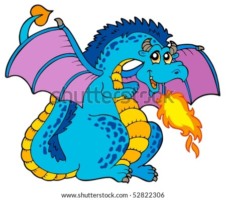 Big blue fire dragon - vector illustration.