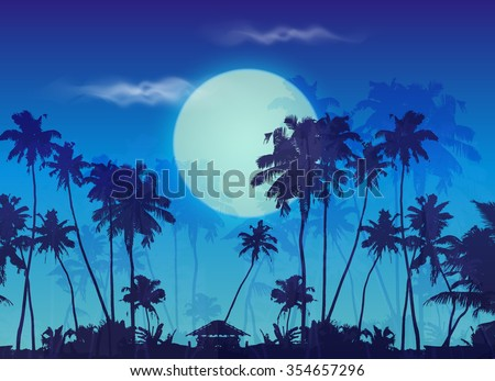 Big blue moon twilight with dark palms silhouettes, vector landscape background - stock vector