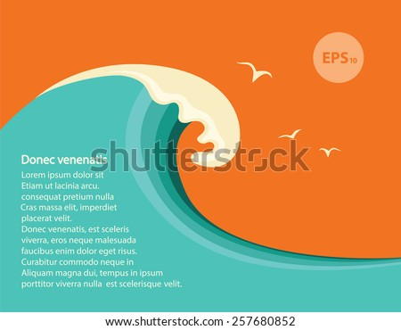Big blue wave.Vector seascape illustration for design or text