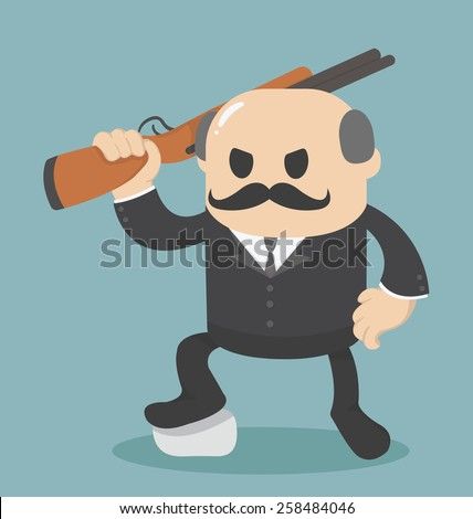 big boss Businessman holding a gun  - stock vector