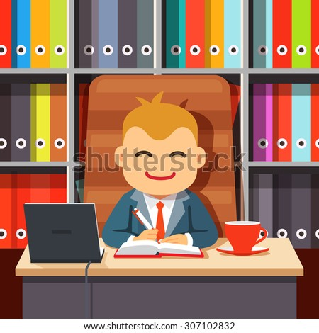 Big boss CEO sitting at the desk with laptop and coffee cup in big directors chair writing in notebook in front of shelf with colourful document file folders. Flat style cartoon vector illustration. - stock vector