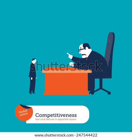Big boss scolding an employee. Vector illustration Eps10 file. Global colors. Text and Texture in separate layers. - stock vector
