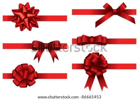 Big bow collection. Vector - stock vector