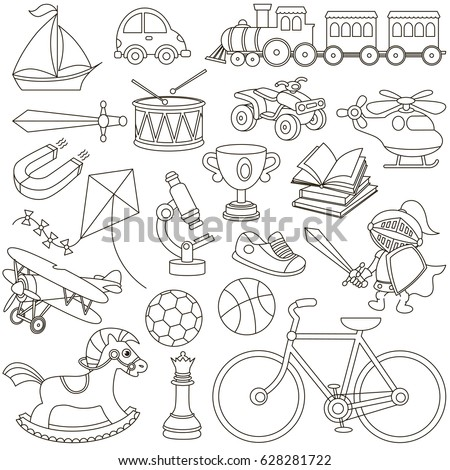Big Boy Toys Be Colored Coloring Stock Vector (2018) 628281722 ...
