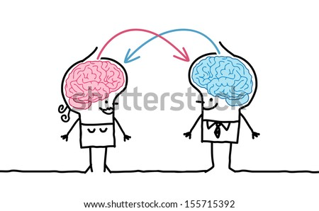 big brain couple & exchange - stock vector