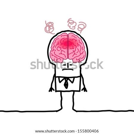 big brain man & fever - stock vector