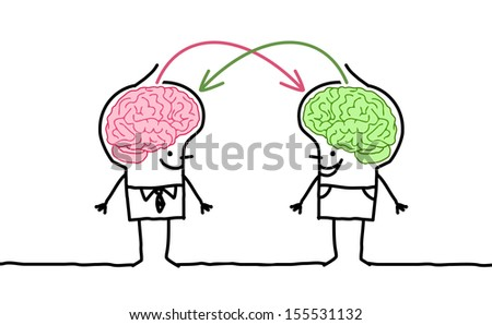 big brain men & exchange - stock vector