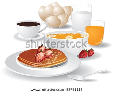Big Breakfast Pancakes, cereal, orange juice, coffee, milk, eggs and strawberries. - stock vector