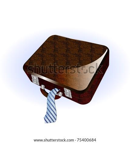 big brown suitcase - stock vector