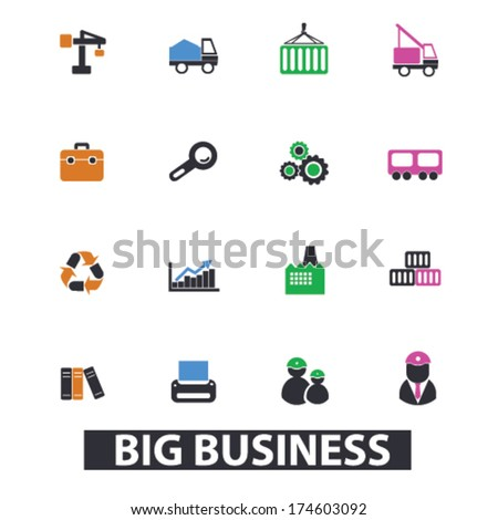 big business icons, signs set, vector - stock vector