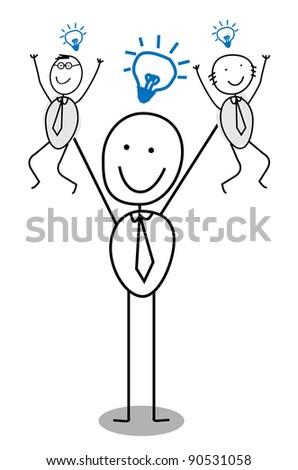 Big Businessman Idea Teamwork - stock vector
