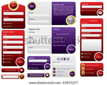 Big button web form design - stock vector