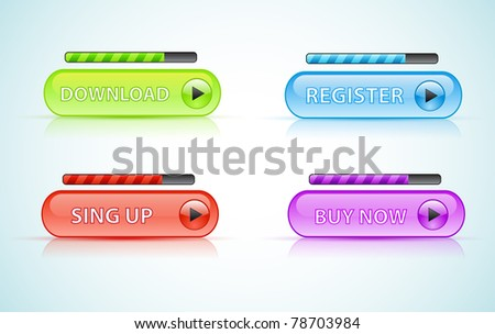 Big button with shadow and reflections - stock vector
