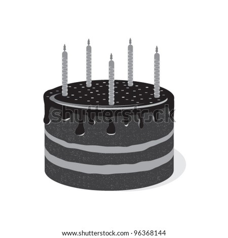 Big cake with candles. Black and white cake for my birthday. - stock vector