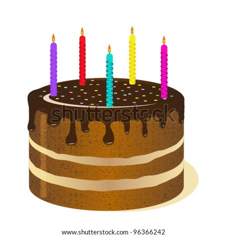 big birthday cake birthday cake candles isolated on white stock vector 1706