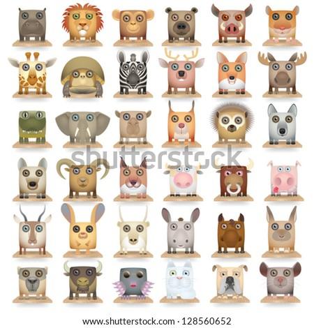 Big carrtoon animals icon set - stock vector
