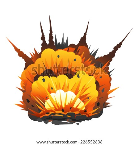 Big cartoon bomb explosion with shrapnel and fireball, isolated - stock vector